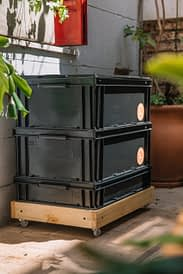 Compostera Lumbricus® 80lts Negra